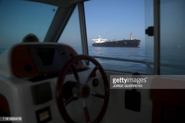Iranian supertanker Grace 1 is seen from a boat off the coast of Gibraltar on August 15, 2019. - Gibraltar's Supreme Court ruled today to release an...