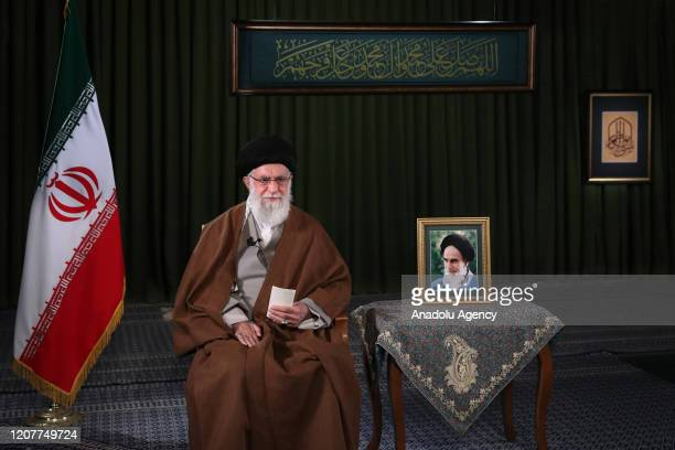 Iranian Supreme Leader Ali Khamenei delivers his message for the Iranian New Year, or Nowruz in Tehran, Iran on March 20, 2020.