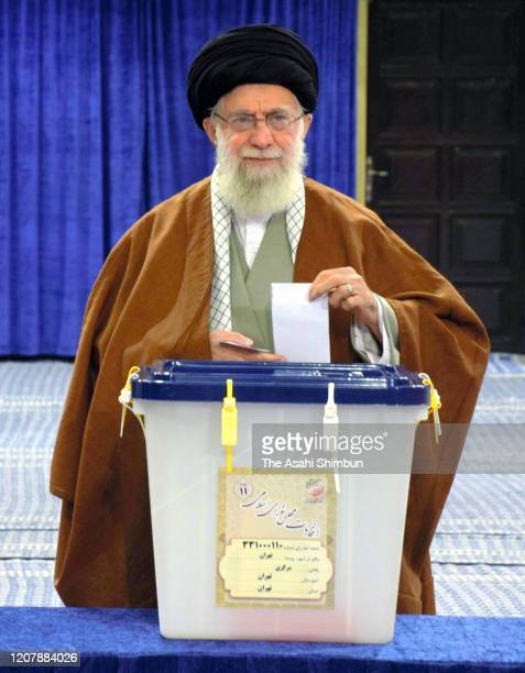 Iranian Supreme Leader Ali Khamenei votes in the parliamentary elections on February 21, 2020 in Tehran, Iran. Iranians began voting for a new...