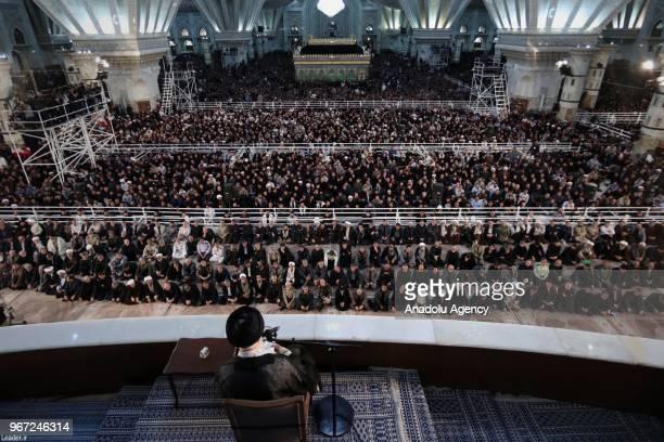 Iranian Supreme Leader Ayatollah Ali Khamanei makes a speech regarding 29th anniversary of the death of leader of Iran's Islamic revolution Ayatollah...