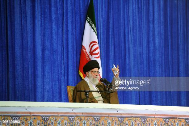 Iranian Supreme Leader Ayatollah Ali Khamanei makes a speech regarding Trump's withdrawal decision from Iran nuclear deal during a press conference...