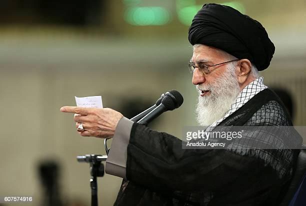 Iranian supreme leader Ayatollah Ali Khamenei delivers a speech during Islamic Revolution Guards Corps meeting in Tehran Iran on September 18 2016