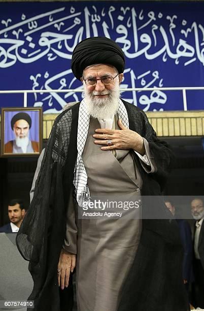 Iranian supreme leader Ayatollah Ali Khamenei greets the soldiers during Islamic Revolution Guards Corps meeting in Tehran Iran on September 18 2016