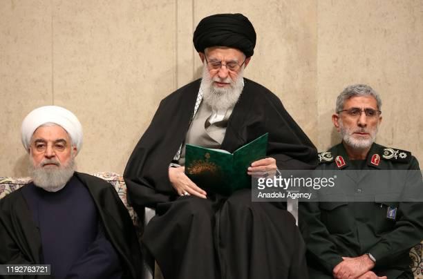 Iranian Supreme Leader Ayatollah Ali Khamenei , Iranian President Hassan Rouhani and Qasem Soleimani's long-time lieutenant and the new leader of...