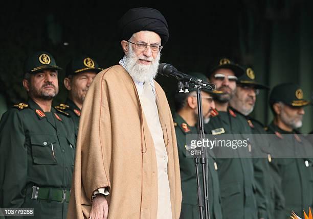 Iranian supreme leader Ayatollah Ali Khamenei speaks next to Iranian commanders during a gathering of Basij militia forces in Tehran 26 November 2007...