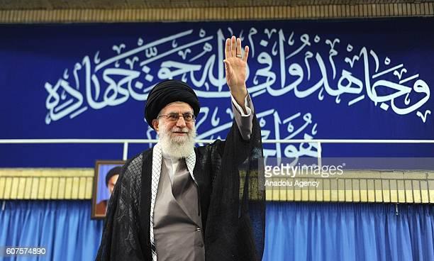 Iranian supreme leader Ayatollah Ali Khamenei waves the soldiers during Islamic Revolution Guards Corps meeting in Tehran Iran on September 18 2016