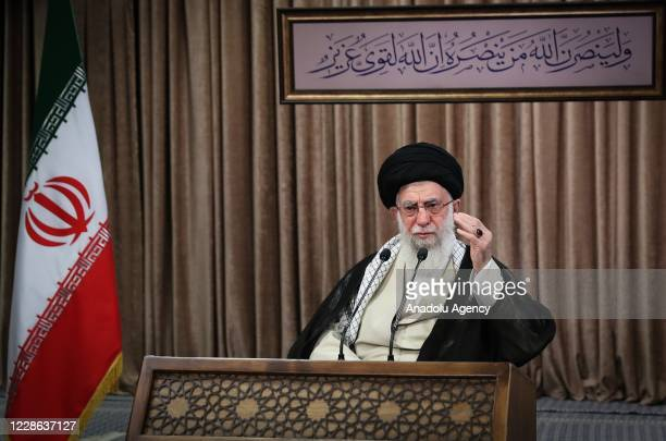 Iranian Supreme Leader Ayatollah speaks as he virtually attends the ceremony marking the 40th anniversary of Iran-Iraq War held at Holy Defense...