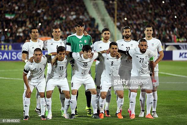 Iranian Team poses for team photo during the FIFA 2018 World Cup Qualifier between Iran and Korea at Azadi Stadium on October 11 2016 in Tehran Iran