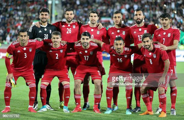 Iranian Team poses for team photo during the international friendly match between Iran and Uzbekistan at Azadi Stadium on May 19 2018 in Tehran Iran