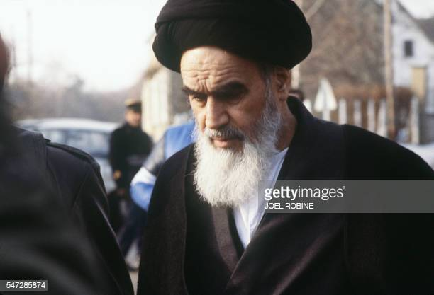 Iranian then opposition leader in exile Ayatollah Ruhollah Khomeini comes out of his villa to go for the Friday prayer in January 1979 at Neauphle Le...