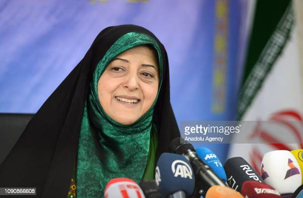 Iranian vice president for women's and family affairs Masoumeh Ebtekar holds a media conference in Tehran Iran on January 29 2019