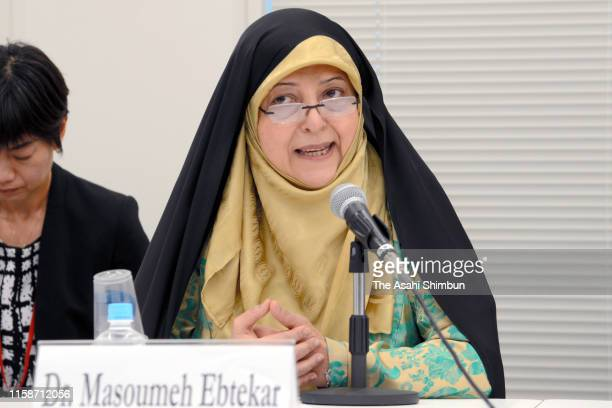 Iranian Vice President Masoumeh Ebtekar addresses on June 27 2019 in Tokyo Japan