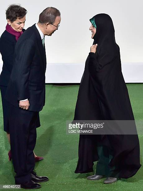 Iranian VicePresident Masoumeh Ebtekar is welcomed by United Nations Secretary General Ban Kimoon and Executive Secretary of the UN Framework...