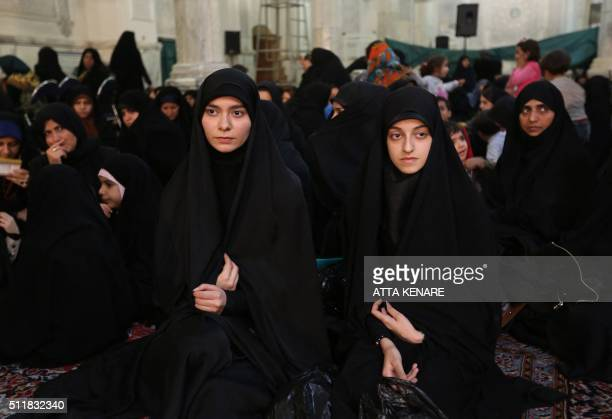 Iranian women attend a meeting of Iran's main conservative parties, ahead of the upcoming parliamentary elections, on February 23, 2016 at Motahari...