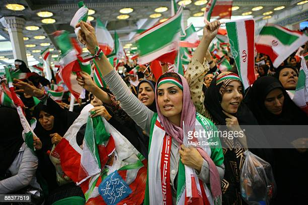 Iranian women attend an electoral campaign rally in support of incumbent President Mahmoud Ahmadinejad on June 9 2009 in Tehran Iran Presidential...