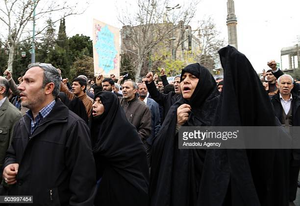 Iranian women chant slogans against Saudi Arabia during the protest against execution of prominent Shiite cleric Nimr alNimr by Saudi authorities...