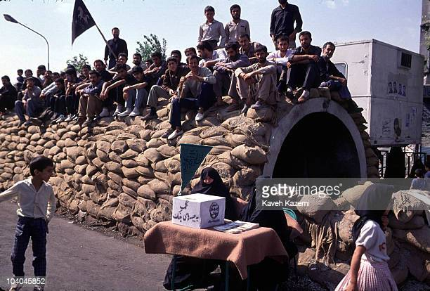 Iranian women collecting money for the war effort outside an air raid shelter in Tehran during the IranIraq War 11th May 1988
