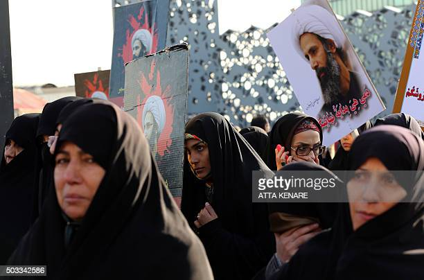 TOPSHOT Iranian women gather during a demonstration against the execution of prominent Shiite Muslim cleric Nimr alNimr by Saudi authorities at Imam...