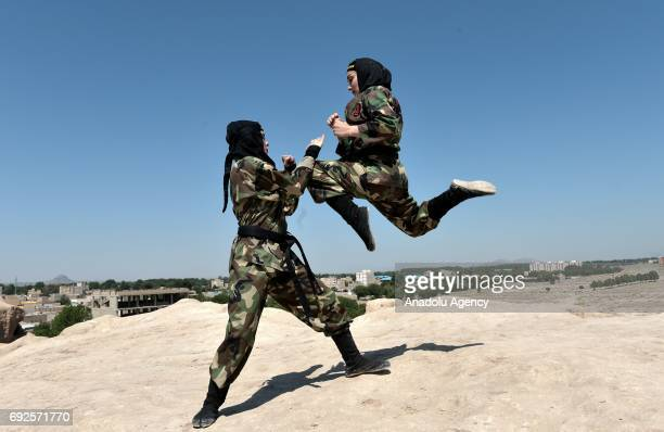 Iranian women perform as they train Far East Fighting Arts to be able to defend themselves at the Jughin castle which is located 40 km's far from...