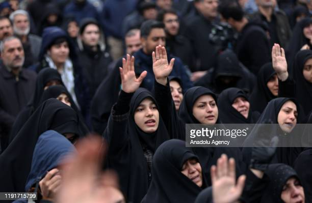 Iranian women take part in an anti-US rally to protest the killing of Iranian Revolutionary Guards' Quds Force commander Qasem Soleimani by a US...