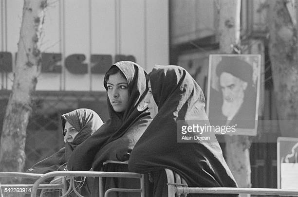Iranian women wait for the return of the exiled Ayatollah Ruhollah Khomeini in Tehran during the Iranian Revolution