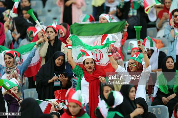 Iranian Women's fan look on before FIFA World Cup Qualifier match between Iran and Cambodia at Azadi Stadium on October 10, 2019 in Tehran, Iran.