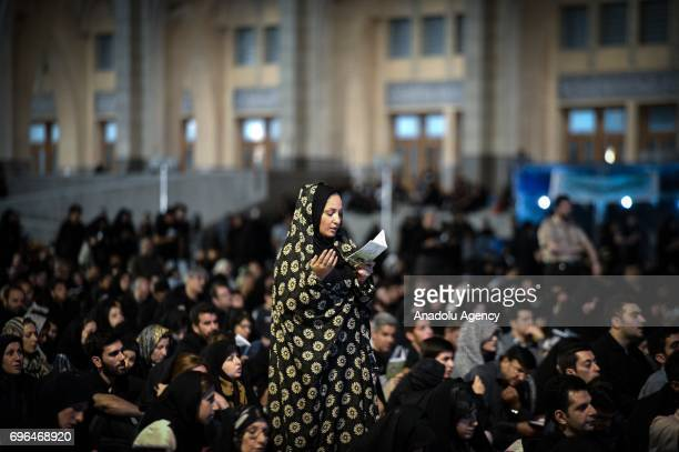 Iranian worshipers pray at Mosalla Mosque on the 21th day of Ramadan as eventual Laylat alQadr one of the Muslim's holiest nights in Tehran Iran on...