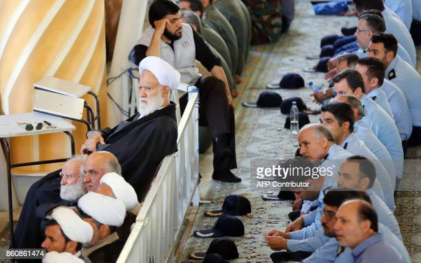 Iranian worshippers attend the weekly Friday prayer in Tehran on October 13 2017 President Donald Trump will unveil a more aggressive strategy to...