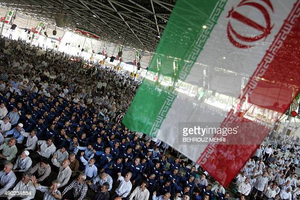 Iranian worshippers chant anti US and Israel slogans during the weekly Friday prayers at Tehran University on July 3 2009 Iran's head of the Guardian...