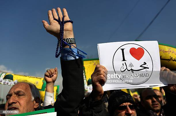 Iranian worshippers demonstrate after the weekly Friday prayers on January 23 2015 in Tehran to protest against a cartoon of the Prophet Mohammed...