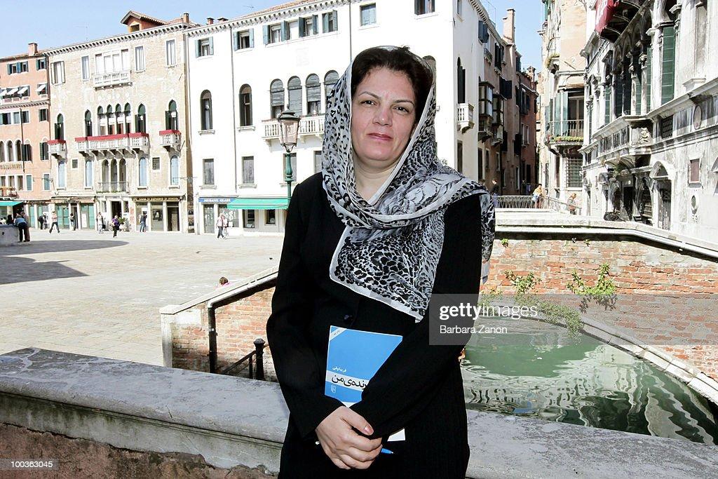 Iranian writer Fariba Vafi poses for a portrait session during 'incroci di civilta', Venice literary Festival on May 19, 2010 in Venice, Italy.
