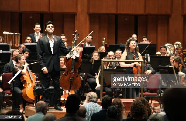 IranianAustrian cellist Kian Soltani who plays on a 1680 cello by the brothers Giovanni and Francesco Grancino and Miriam Manasherov stand after...
