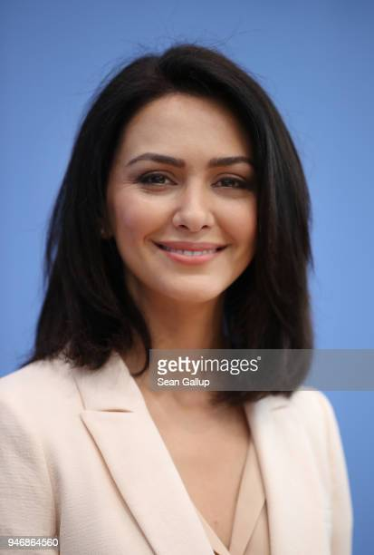 Iranianborn actress and human rights advocate Nazanin Boniadi arrives to speak to the media with members of the Bundestag on April 16 2018 in Berlin...
