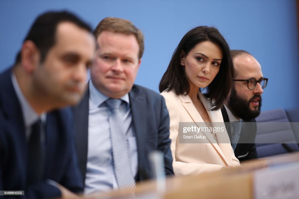 Iranian-born actress and human rights advocate Nazanin Boniadi (C-R) sits with German politicians and Bundestag members Bijan Djir-Sarai (L) and Frank Schwabe (2nd from L) while speaking the media on April 16, 2018 in Berlin, Germany. Boniadi, representing the U.S.-based Center for Human Rights In Iran, met with Bundestag members over possibilities for the German government to influence Iran towards improving its human rights conditions and policies. Boniadi is an actress and starred in the hit TV-series 'Homeland.'