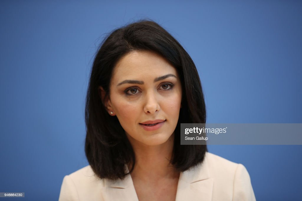 Iranian-born actress and human rights advocate Nazanin Boniadi speaks to the media with members of the Bundestag (not pictured) on April 16, 2018 in Berlin, Germany. Boniadi, representing the U.S.-based Center for Human Rights In Iran, met with Bundestag members over possibilities for the German government to influence Iran towards improving its human rights conditions and policies. Boniadi is an actress and starred in the hit TV-series 'Homeland.'