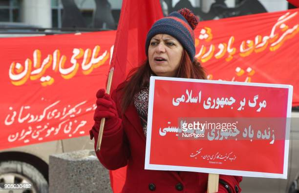 IranianCanadians take part in a protest against the Islamic Republic of Iran in Toronto Ontario Canada on January 14 2018 Protestors showed their...