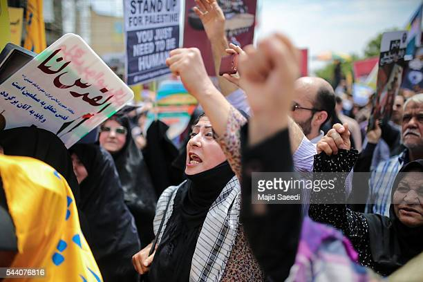 Iranians attend an annual proPalestinian rally marking AlQuds Day on July 1 2016 in Tehran Iran Iranians staged antiIsrael rallies across the country...