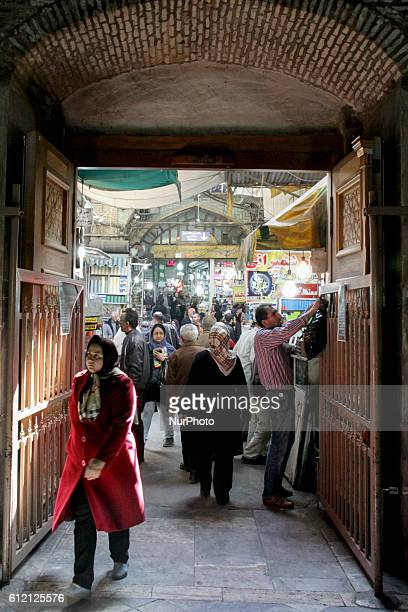 Iranians attend Tehran's Grand Bazaar for New Year shopping on March 01 2016 in Tehran Iran Iranian New Year will be start on March 21st