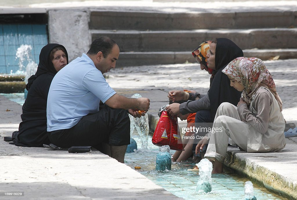 Iranian's cool off at the Fin Garden on August 15, 2012 in Kashan, Iran.