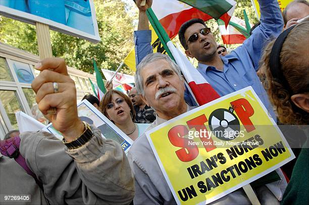 Iranians gather at Dag Hammarskjold Plaza and demonstrate against Iranian President Ahmadinejad calling for Democracy in Iran