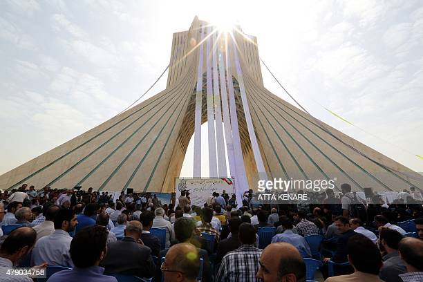 Iranians gather at Tehran's Azadi Square on June 30 to unveil a petition in support of the Iranian team pursuing a nuclear agreement with world...
