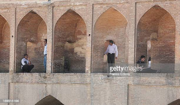 Iranian's gather at the sioseh bridge or the Bridge of 33 Arches on August 16 2012 in Isfahan Iran