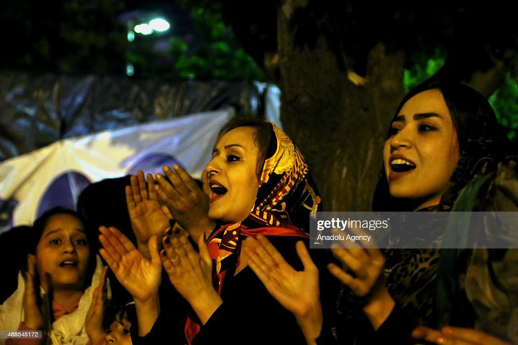 Some Iranians celebrate the framework agreement on nuclear program : News Photo