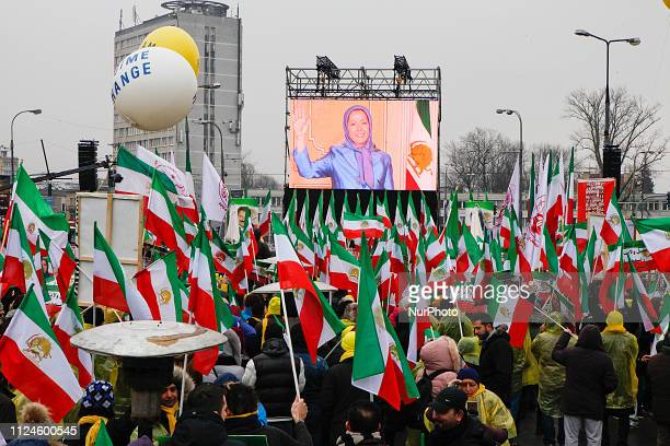 Iranians opposition rally held nearby the international conference on the Middle East in Warsaw at Stadium PGE Narodow in Warsaw Poland on Friday...