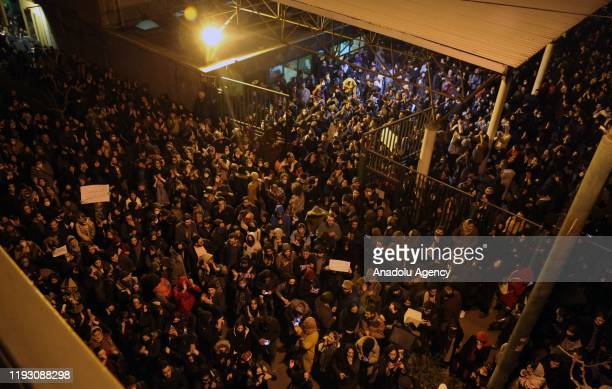 Iranians protest against the government after a vigil held for the victims of the airplane of Ukrainian International Airlines that crashed near Imam...