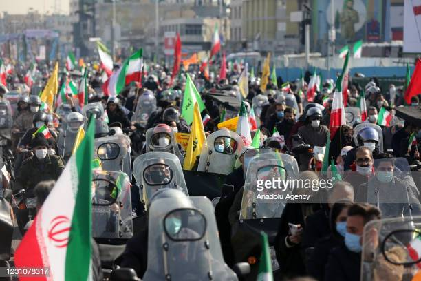 Iranians riding motorcycles take part in a ceremony marking the 42nd anniversary of the 1979 Islamic Revolution, at the Azadi square in Tehran, Iran...