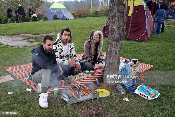 Iranians share a barbecue at a park in northern Tehran on April 1 2016 as they celebrate 'Sizdah Bedar' on the 13th day of Noruz which people spend...