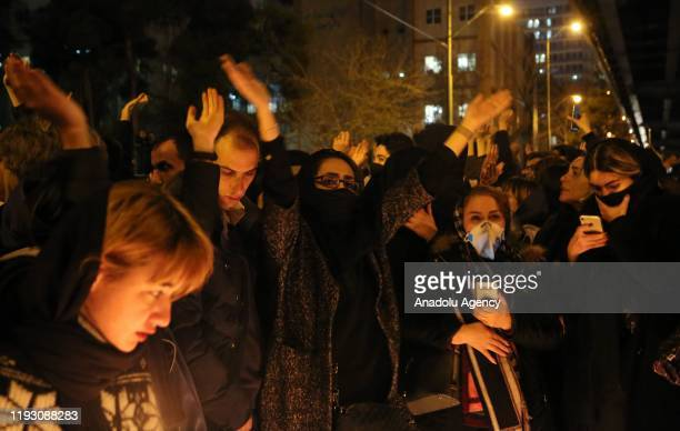 Iranians shout slogans against the government after a vigil held for the victims of the airplane of Ukrainian International Airlines that crashed...