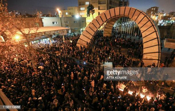 Iranians students demonstrate following a tribute for the victims of Ukraine International Airlines Boeing 737 in front of the Amirkabir University...