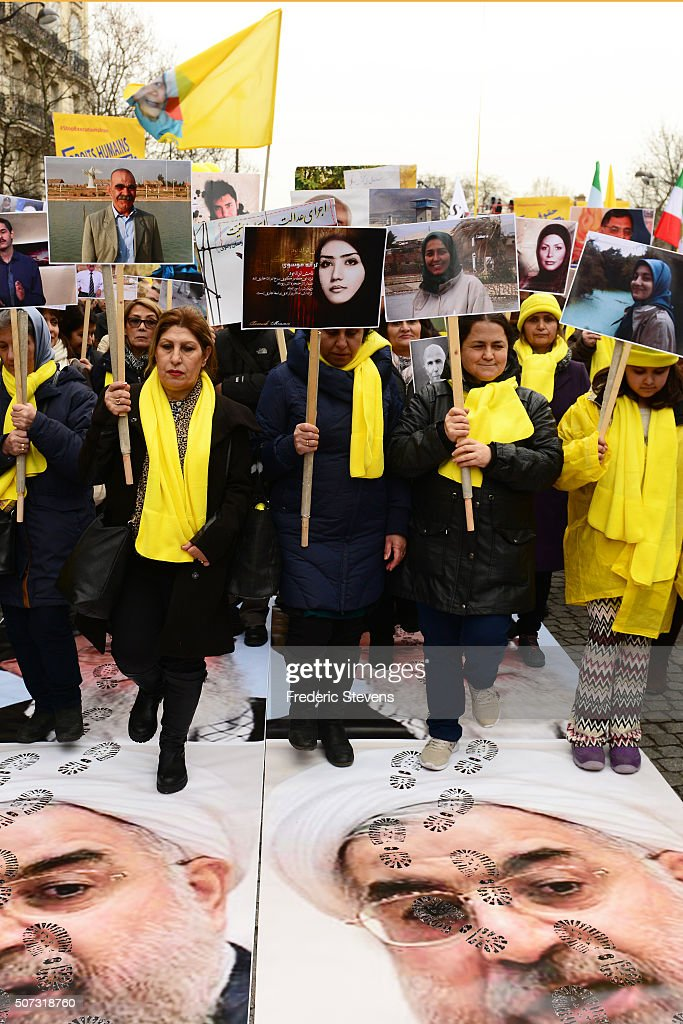 Iranian Dissidents Demonstrate Against The Visit Of Iranian President Rouhani In Paris : News Photo